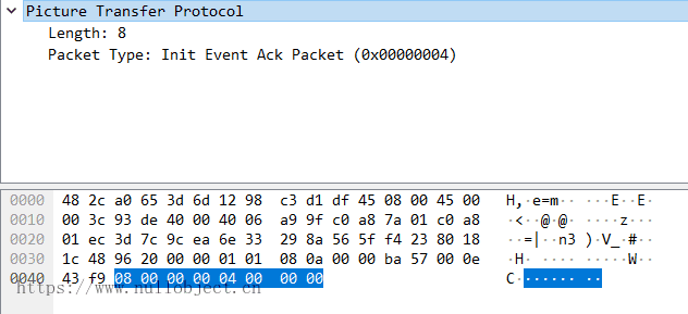 PTP-IP EventAck数据包示例
