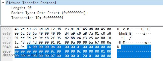 PTP-IP DataPacket数据包示例