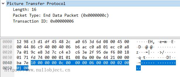 PTP-IP EndDataPacket数据包示例