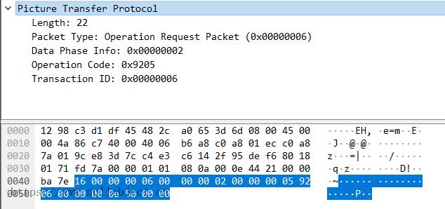 PTP-IP OperationReq数据包示例